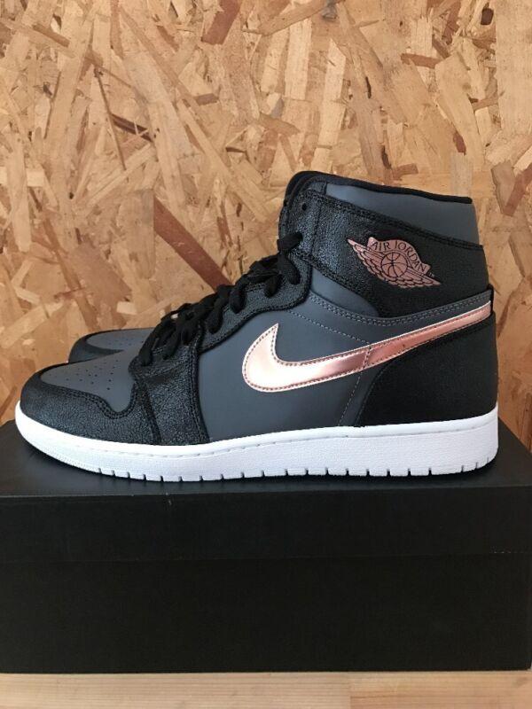 Nike Jordan Men's Air Jordan 1 Retro High Blk/Mtlc Rd Brnz Drk Gry White Basketball Shoe 8 Men US 332550-016