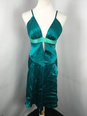 VTG 90s Bebe Teal Slip dress Sz M USA Made Cut Out Fit Flare EUC Party - 90s Party Outfit