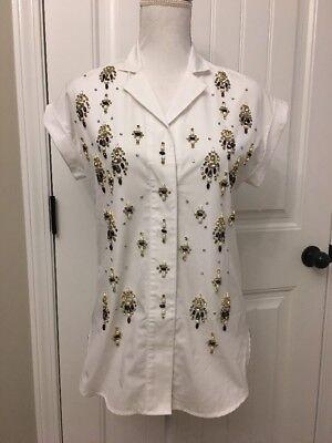 New Collection Thomas Mason for JCrew Embellished Popover Shirt White Sz 0 F5827