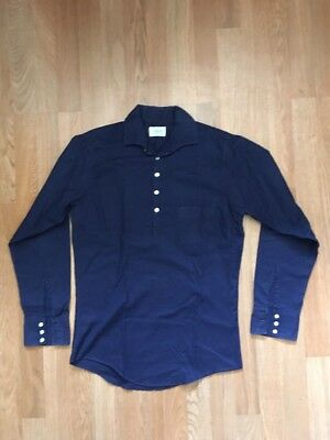 Vtg 60S   Brent Long Sleeve Rolled Collar Henley   Navy Blue S Rockabilly   Vlv
