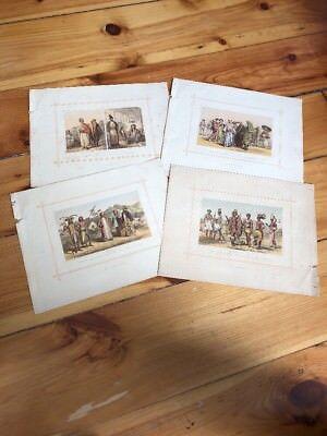 Set Of 4 Plates 1883 Ethiopian Mongol Caucasian Malay Races Antique Prints