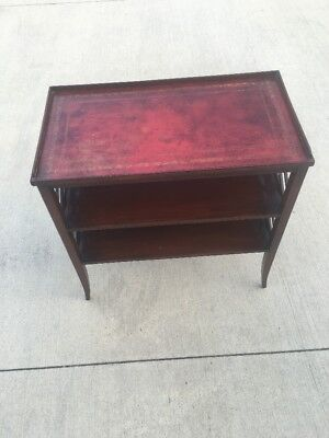 Antique Mahogany Wood Nightstand Leather Top Lattice Side Duncan Phyfe