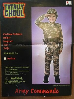 Army Commando Halloween Costume For Children; Size Medium 3+ - Army Halloween Costumes Kids