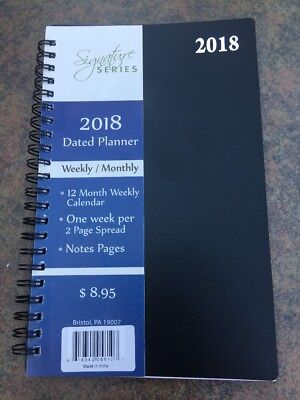 2018 Weekly Monthly Dated Day Planner Calendar Signature Premium 5x8 Black