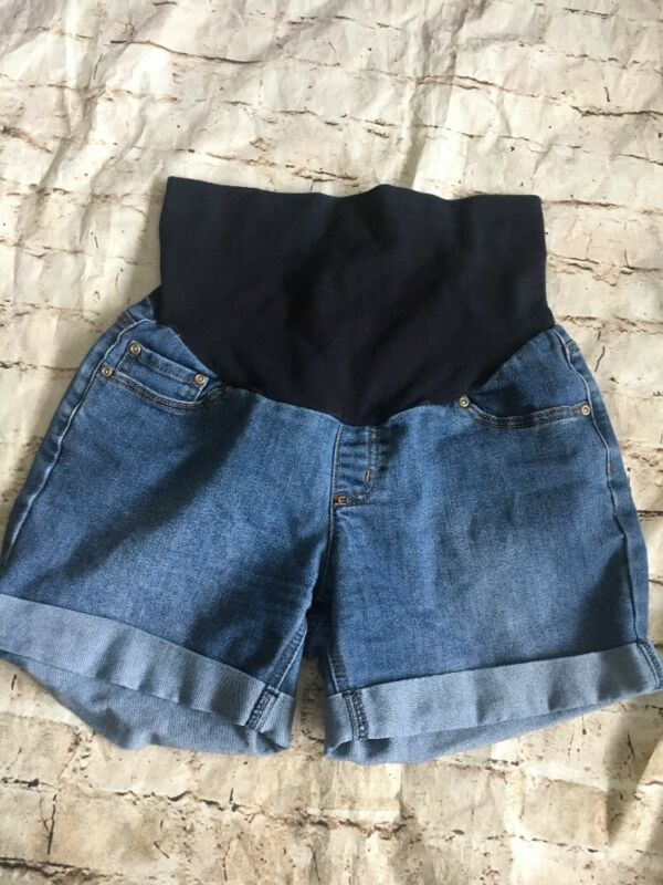 Three Seasons Maternity Spring Jean Denim Shorts With Belly Band Size Mediums