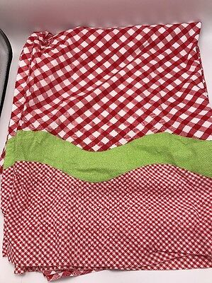 "Britannica Home Fashions Curtain Panel Set Pair Lot Red White Green 40""W 84""L"