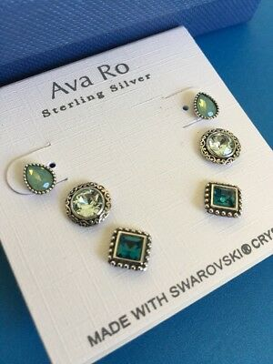 Ava Ro Sterling Silver Earrings Set With Swarovski Elements Retail $38