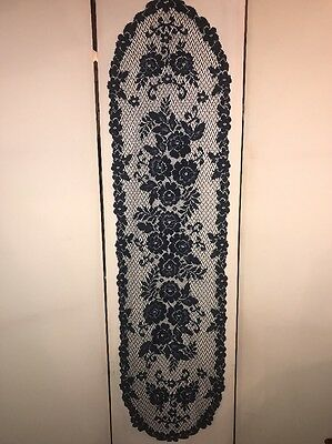 Vintage Table Runner Navy Blue Floral Lace Doily Beautiful Delicate Piece 54x15](Navy Lace Table Runner)