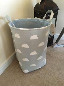 Boys Off Grey Blue Nursery Baby Laundry Clothes Toy Hamper Storage Box Tidy Bin