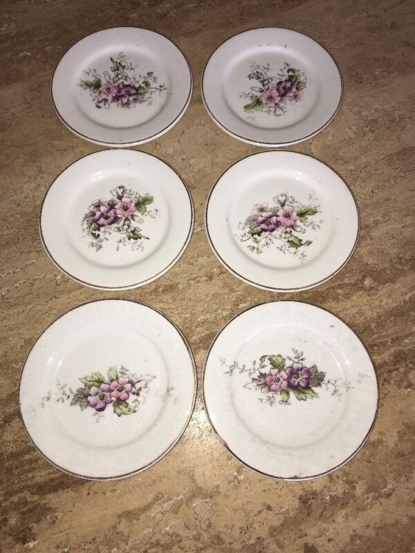 Antique 6  Butter Pats Wild Roses Mini Dishes