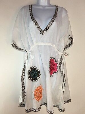 - Mud Pie Boutique Butterfly Tunic Beach Swim Cover-up  Cotton White Flowers  S/M