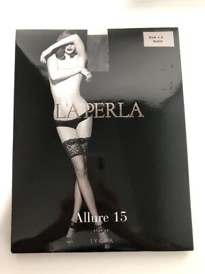 LA PERLA ALLURE 15 lace top hold ups STAY UPS STOCKINGS SMALL black 15 den