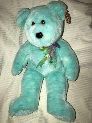 "2001 TURQUOISE TY BEANIE BUDDIES ""DOTTY"" BEAR PLUSH 14"" Teddy"