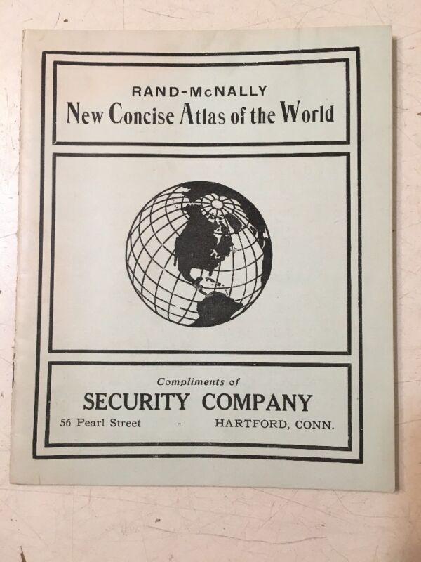 Antique Rand Mcnally World Atlas Mini Advertising Security Co. Hartford CT