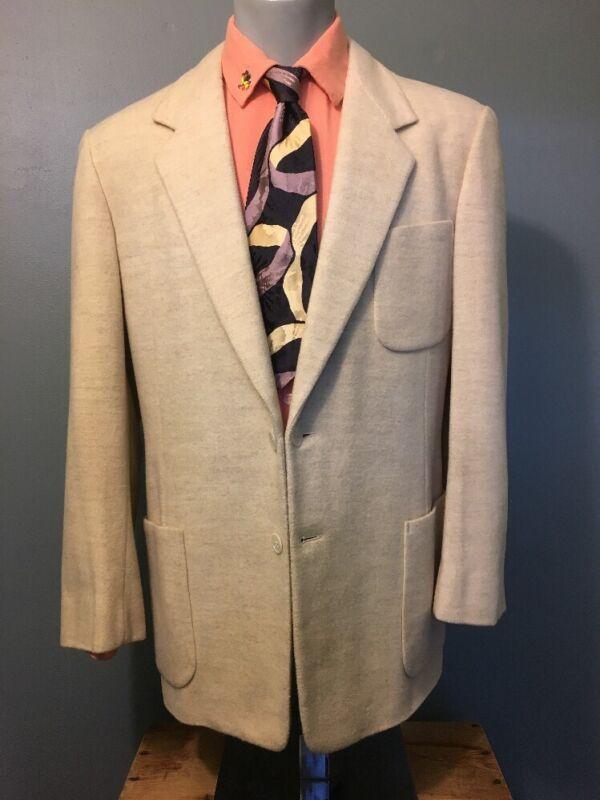 Vtg 1950s 50s White Fleck Wool Blazer Sport Coat Mens 40 Rockabilly Swing Jacket
