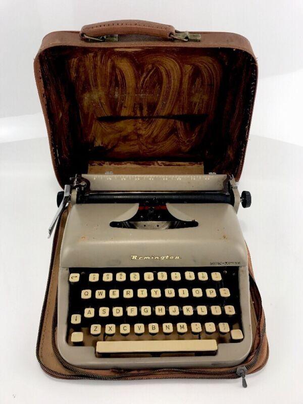 Vintage Remington Rand Portable Rem-Riter Model Manual Typewriter Travel w/case