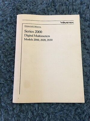 Wavetek Series 2000 Digital Multimeters Operators Manual