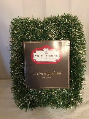 Trim A Home 40 Ft Green & Gold Tinsel Garland For Christmas Tree Or Decorating ()