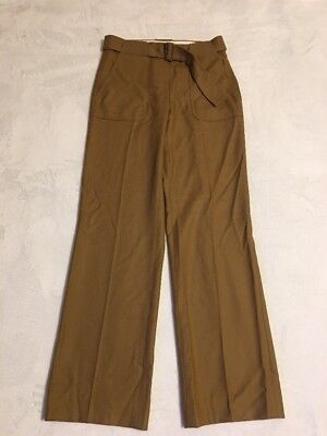 - New J Crew Collection Belted Pant in Italian Wool Walnut Sz 2 F5620