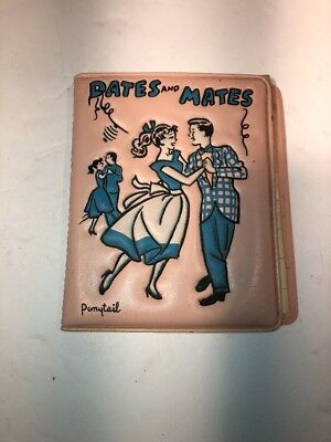 Vintage Dates And Mates Ponytail Pink FASHION BLACK DATE BOOK 50's 60's  OLD!