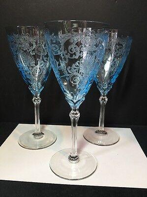 "Fostoria Blue Versailles Set of 3 Water Goblets Glasses 8.5"" Elegant Glass"