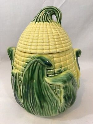 Vintage Stanfordware  Pottery KING CORN Cob Cookie Jar Farm Country