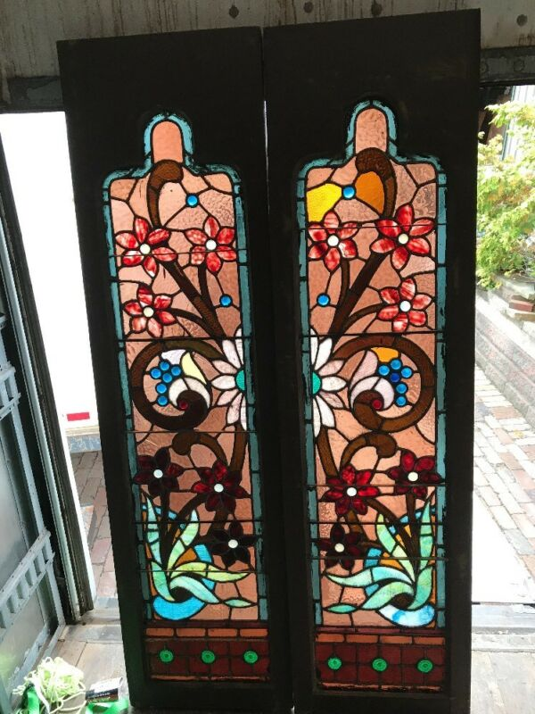 Kr 1 Antique Pair Jeweled Floral Sidelight Windows 17.5 X 65.5 Stained Glass