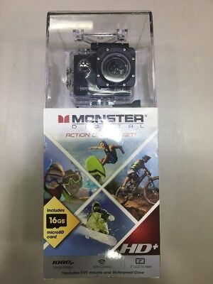 Monster Vision 1080p+ 60fps Sports Action Camera Kit [Ready to Record] 16GB and