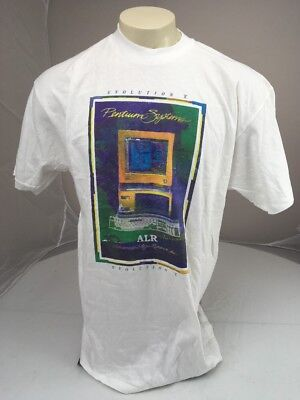 Vtg  Pentium Systems Advanced Logic Research Inc Evolution V White Ad Tshirt Xl