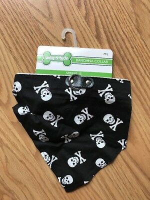 WAG-A-TUDE Black and White SKULLS BANDANA -COLLAR - Puppy/Dog M/L, used for sale  Sebastian
