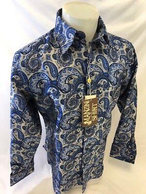 Mens MANZINI Button Down Dress Shirt ROYAL NAVY SILVER PAISLEY FRENCH CUFF (Button Cuff Button Down Dress Shirt)