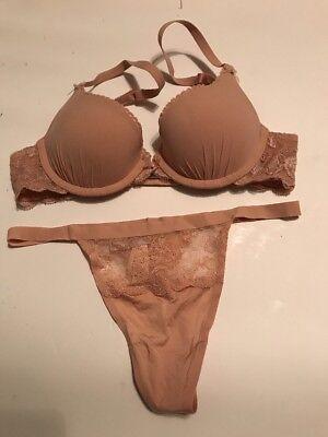 Victoria's Secret Angels Love Push Up Bra Set 32A,S NWT Nude Beige Fit Nudes Push Up Bra