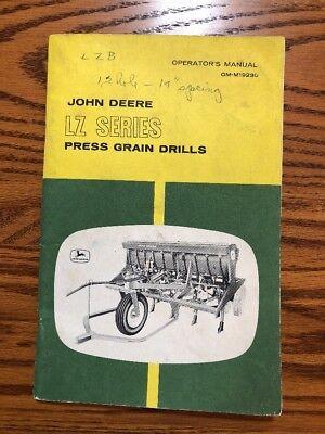 John Deere Lz Grain Drill Omm19230 Operators Book