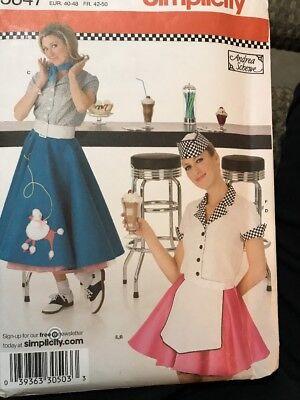 1950's 60's Poodle Skirt Diner Waitress Pattern Costume #3847 14 16 18 20 22
