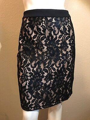 Bebe Foil Lace Pencil Skirt Size 8