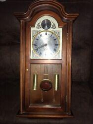 Vintage Tempus Fugit Strasbourg Quartz Westminster Chime Wood Wall Clock Cabinet
