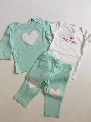 Carters Baby Girl 3 Piece Bodysuit Pants Size 3 Months Mint Green Heart Layette