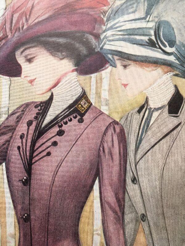 1909 Large Color Edwardian Fashion Ad Print Printz Biederman Womans Dress Suits
