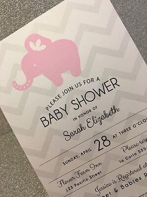 20 Girl Elephant Baby Shower Invitation - Pink And Gray Chevron (Pink Gray Elephant Baby Shower)