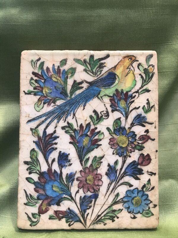 Antique Handmade Clay? Tile Flowers Exotic Bird Painted Glazed Bluebird C4