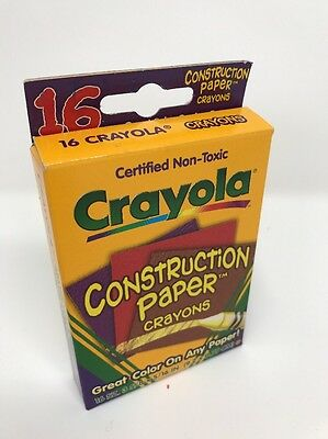 Construction Paper Crayons Crayola 16 Count 1998 Non Toxic Rare Assorted C124B