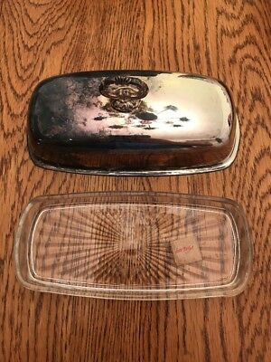 Vintage CARSON PIRIE SCOTT Crystal Glass Butter Dish With Silver Plated Lid