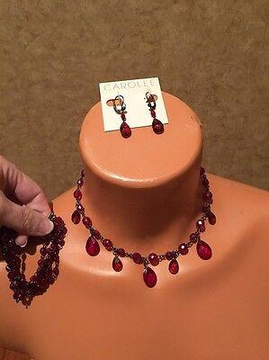 Carolee Set Bracelet - CAROLEE Red Necklace Earrings Bracelet Set Lot NWT