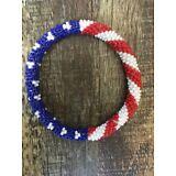 Roll On Glass Beaded Bracelet - Nepal Bead 100% Handmade Bangle Gift 🇺🇸 Flag