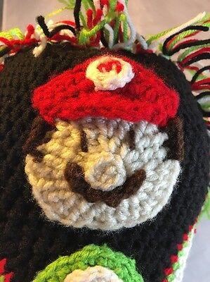 RARE Nintendo Super Mario Bros Snow Cap Hand Knit Beanie Hat - Luigi, Toad OOAK - Toad Mario Hat
