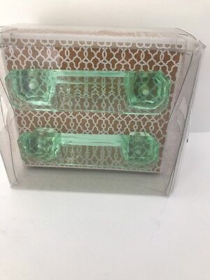 Set of 2 Mileh Collection Decorative Glass Furniture Drawer Pulls Knobs -