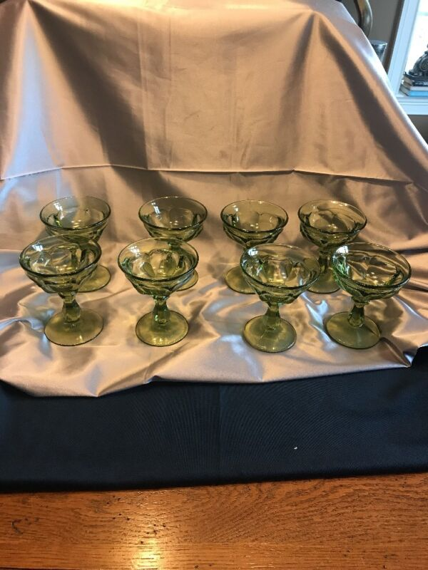 8- Imperial Glass OLD WILLIAMSBURG Champagne/Sherbet Verde Green Glasses
