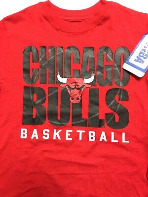 Boys Chicogo Bulls T Shirt Size X S 4 5 Width 13  Length 20   By Nba Com