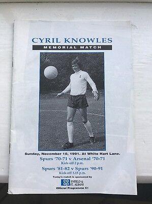 Tottenham v Arsenal Cyril Knowles 1991 Memorial Match Programme