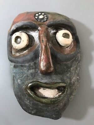 Hand Painted Art  Clay Pottery Mask Decor